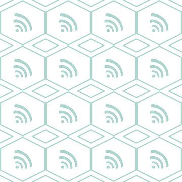 wifi seamless pattern illustration vector