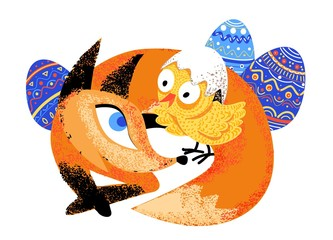 Red fox and chicken easter isolated illustration