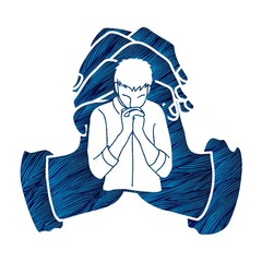 Pray , Prayer, Praise to the Lord , Double exposure cartoon graphic vector