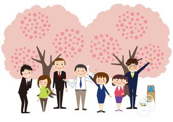 お花見で桜を楽しむ会社の仲間たち