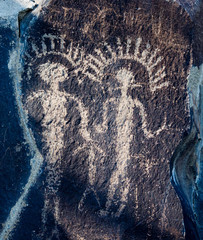 Ancient Wanapum Native American petroglyphs at Ginkgo Petrified Forest State Park, Washington state