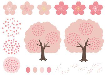 お花見・桜にまつわる桜の木・花・花びらの素材集