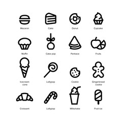 Sweets and desserts flat icons vector set