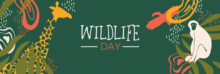 Wildlife Day safari web banner with wild animals