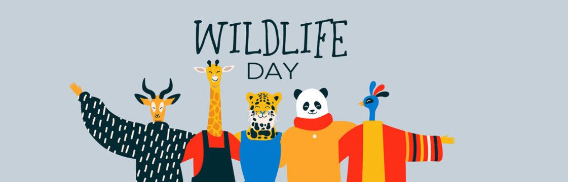 Wildlife Day web banner of happy animal friends