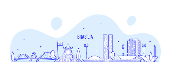 Wall Mural - Brasilia skyline Brazil city buildings vector line