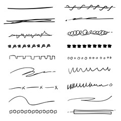 Collection of hand drawn Underline Strokes in Marker Brush Doodle Style Various Shapes in Lines vector
