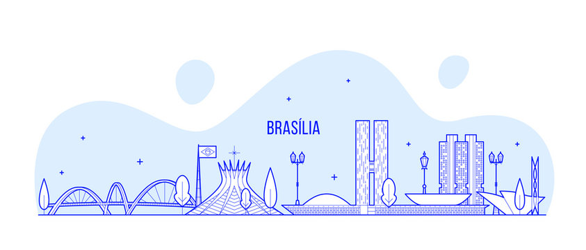 Brasilia skyline Brazil city buildings vector line