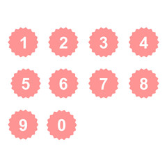 numbers set pink white color isolated vector