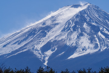 The Peak of Fuji with Snowstorm