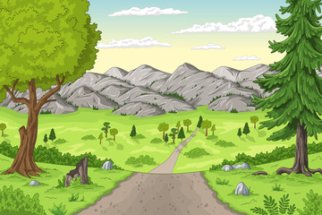 Cartoon summer landscape with trees and moutains