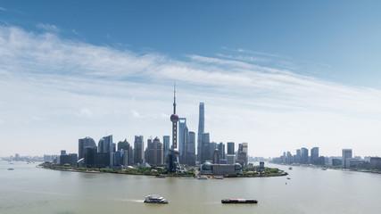 Fotobehang - shanghai skyline and sunny sky