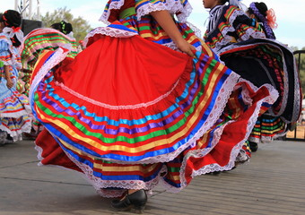 Colorful skirts fly during Mexican dance
