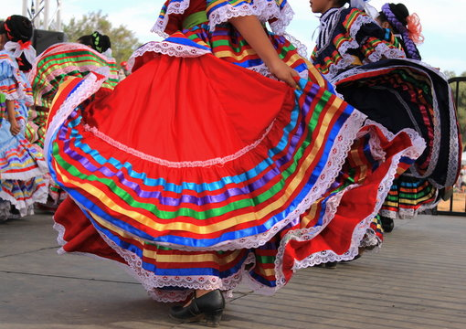 Colorful skirts at Mexican dance