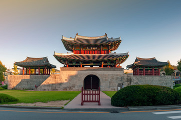 Pungnammun Gate, south gate of city wall of Jeonju remaining from Joseon Dynasty since 1768 designated as architectural treasure No. 308 of South Korea