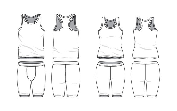 Blank clothing templates. Tank top and training short in front, back views. Sport wear, gym cloth. Vector illustration. Male and female clothes set. Isolated on white background.