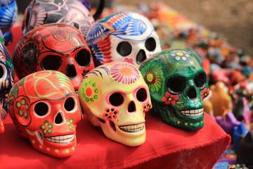Colorful Mexican sugar skulls