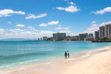 Two boys at Waikiki Beach, Honolulu, Hawaii