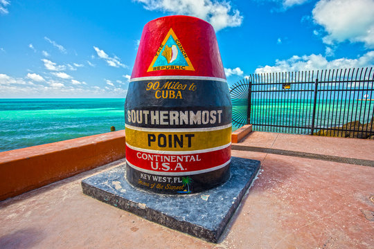 Southernmost point in continental. 90 miles to Cuba. Home of the Sunset. Key West. Florida. USA.
