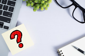 Office Desktop With Question Mark