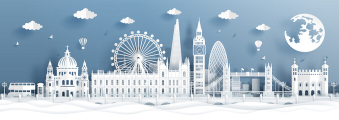 Fototapete - Panorama postcard and travel poster of world famous landmarks of London, England in paper cut style vector illustration