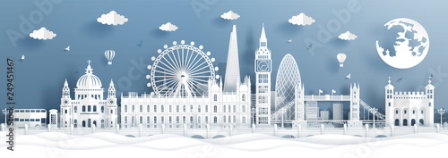 Fototapete Panorama postcard and travel poster of world famous landmarks of London, England in paper cut style vector illustration