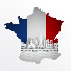 Wall Mural - Map of France with world famous landmarks in paper cut style vector illustration