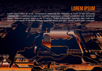 Abstract vector background with circuit board in orange color. Computer hardware technology. Motherboard chip.