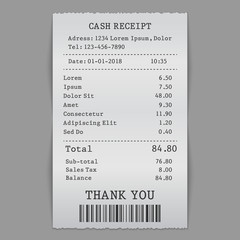 vector paper cash sell receipt