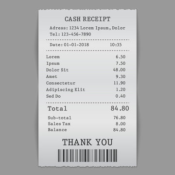 vector paper cash sell receipt