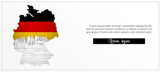 Fototapete - Tour and travel advertising template with travel to Berlin, Germany with famous landmarks in paper cut style vector illustration