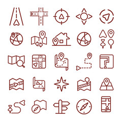 navigation, location and map. minimal thin line web icon set. simple vector illustration outline. concept for infographic, website or app