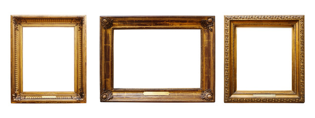 Set of three vintage golden baroque wooden frames on  isolated background