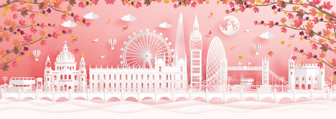 Fototapete - Autumn in London, England with falling maple leaves and world famous landmarks in paper cut style vector illustration