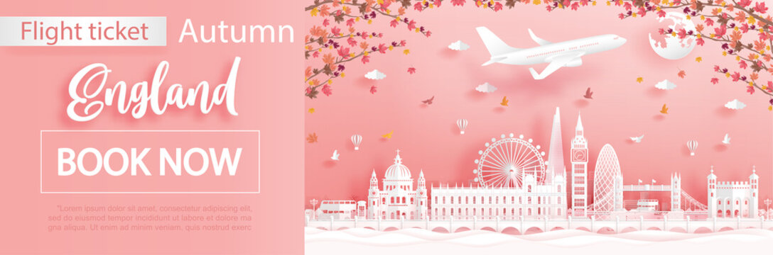 Flight and ticket advertising template with travel to London, England in autumn season deal with falling maple leaves and famous landmarks in paper cut style vector illustration