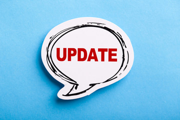 Update Speech Bubble Isolated On Blue