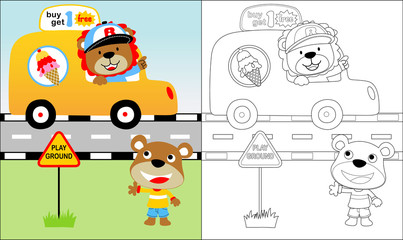 Vector cartoon of funny ice cream seller with car, coloring book or page