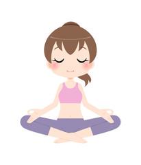 安楽座のポーズで瞑想をする女性
