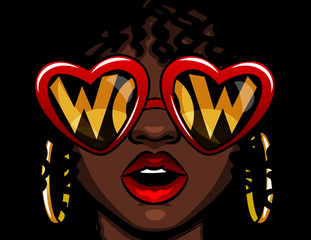 Color vector illustration in comic style. Female face in glasses with the inscription wow. Afro american woman in shock. The girl opened her mouth in surprise. Heart shaped glasses with text inside