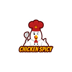Chicken Spicy logo mascot with funny chicken character holding ladle and wears chef hat in cartoon style
