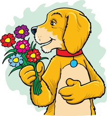 Valentine's day illustration. Dog with a flowers