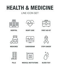 HEALTH AND MEDICINE LINE ICON SET