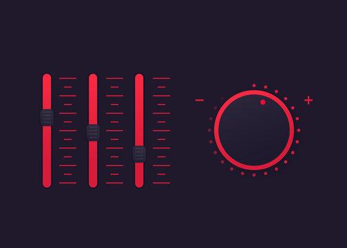 slider bar and control knob, vector regulator