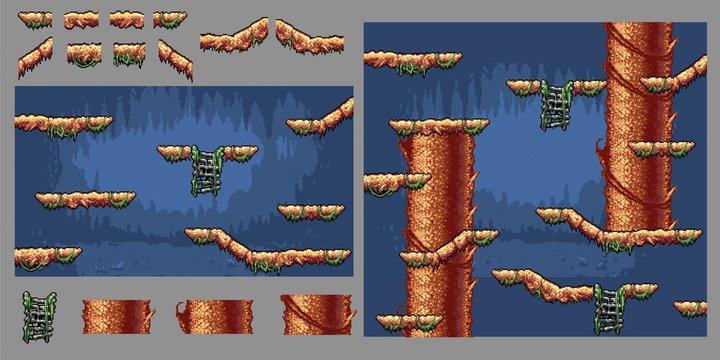 platform forest tree game pixel art graphics kit, vector illustration