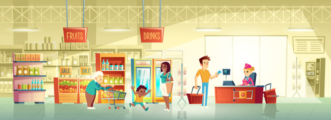 Supermarket buyers, grocery store clients cartoon vector concept with granny pushing shopping trolley, african-american woman with child, man giving credit card to seller behind counter illustration