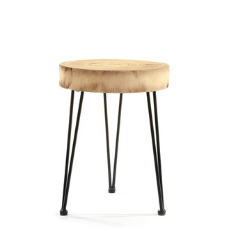 Small wooden table on white background