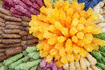 View of colored rock candies. Persian crystallized sugar