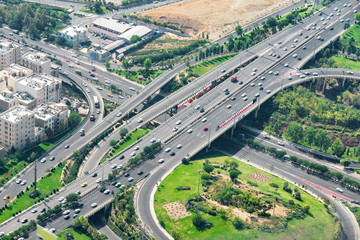Amazing aerial view of two-level road junction in Tehran, Iran