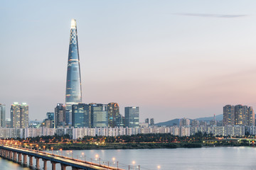 Amazing evening view of skyscraper at downtown of Seoul
