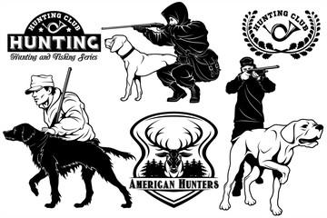 Set of Hunting Club labels. Pointer dog emblems, labels and design elements.